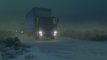 autotruck: Train of military trucks with luminous headlights move on a dirt road at dark night. Realistic 3D illustration was done from my own 3D rendering file.