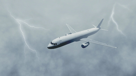 Airliner flies through dramatic stormy sky with fog and lightnings. Monochrome 3D illustration.
