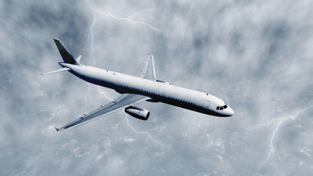airliner: Airliner flies through a thunderclouds with lightnings above stormy ocean. Monochrome