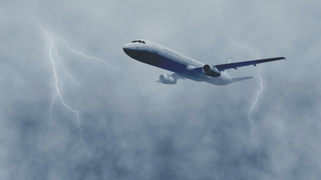 Passenger plane flies through stormy sky with thunderclouds and lightnings. Monochrome