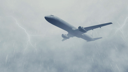 Airliner flies through rainy clouds with lightnings. Monochrome 3D illustration.