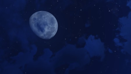 waning moon: Magical night sky with big moon, shining stars and clouds. Decorative 3D illustration.