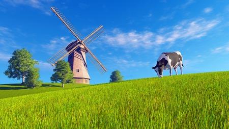 녹색 초원에 거리에서 풍차 방목하는 단일 낙농 암소와 농촌 풍경