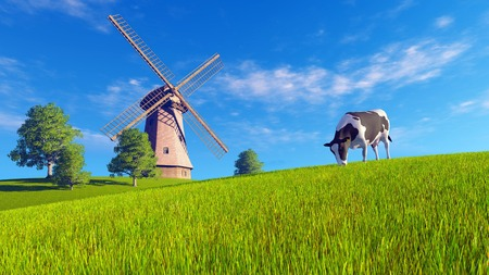 Rural landscape with single dairy cow grazing on a green meadow and windmill in the distance