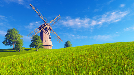 verdant: Summer or spring rural landscape with windmill on a green meadow under blue cloudy sky Stock Photo