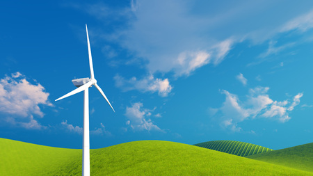 verdant: Decorative landscape with single wind turbine on a green hills against blue cloudy sky background Stock Photo