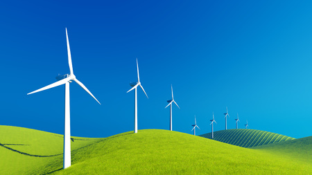 windfarm: Decorative landscape with row of wind turbines on a green hills against clear blue sky background