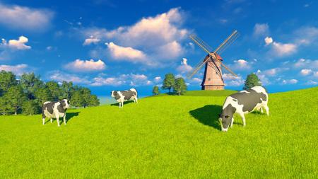 paisaje rural de la primavera con el pastoreo de vacas lecheras y molino de viento en la distancia Foto de archivo