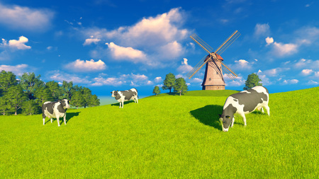 dairy cows: Springtime rural landscape with grazing dairy cows and windmill in the distance Stock Photo