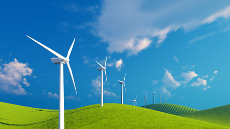 verdant: Row of wind turbines on a green fields under blue cloudy sky at sunny day
