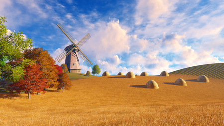 dry grass: Autumn rural landscape with windmill and haystacks on a fields covered with dry grass Stock Photo