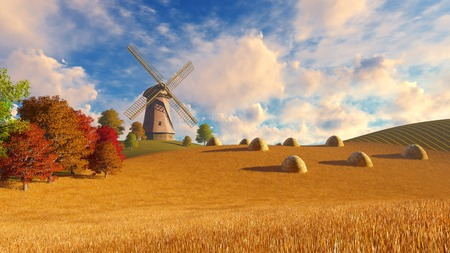 mill valley: Farm landscape with windmill among autumn fields under blue cloudy sky and haystacks on foreground