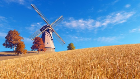dry grass: Autumn rural landscape with windmill on a fields covered with dry red grass against blue cloudy sky background