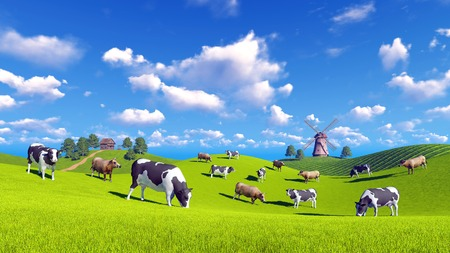 verdant: Rural landscape with cows grazing on a green hills and with rustic house and windmill in the distance