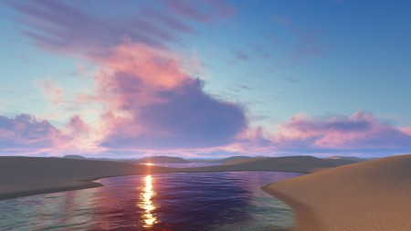 Fantastic sunset with colorful clouds in sky above unique white sand dunes desert and water lagoons in Lencois Maranhenses National Park in Brazil. 3D illustration.