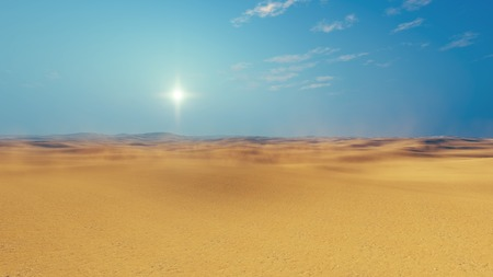 sultry: Barren lands of sandy african desert at sultry day with haze and sun disk on horizon. 3D illustration.