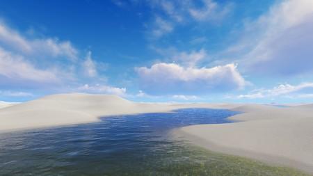 sultry: Unique white sand dunes desert and rainwater lagoons in Lencois Maranhenses National Park in Brazil at sultry day. 3D illustration.