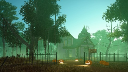 Spooky haunted house with carved Jack-o-lantern Halloween pumpkins on its path and creepy trees around at misty dusk