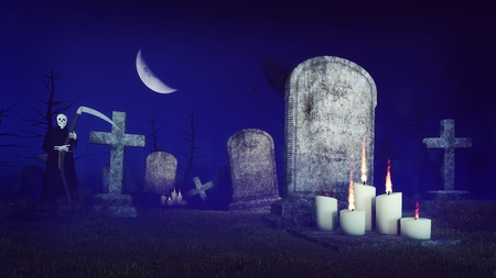 half moon: Abandoned spooky cemetery under fantastic big half moon with lighted candles in front of old tombs and grim reaper silhouette at misty night. 3D illustration from my own 3D rendering file. Stock Photo