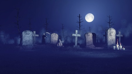 ghostlike: Abandoned sinister graveyard under fantastic big moon with lighted candles in front of old gravestones and grim reaper in the distance at misty night. 3D illustration from my own 3D rendering file.