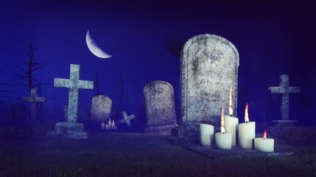 half moon: Abandoned spooky cemetery under fantastic big half moon with lighted candles in front of old gravestone at misty night. 3D illustration from my own 3D rendering file. Stock Photo