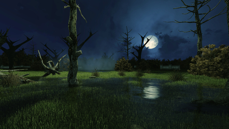 Sinister fairytale scenery with fantastic big moon above creepy swamp and spooky dead trees at misty night. Decorative Halloween 3D illustration.