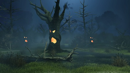 sinister: Sinister swamp with fantastic spooky trees at dark misty night. Decorative Halloween 3D illustration.