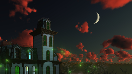 dramatic sky: Spooky mystical mansion under dramatic night sky with fantastic sunset clouds and big half moon. Decorative Halloween 3D illustration. Stock Photo