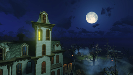 Fantastic big moon in a dark sky above scary abandoned haunted mansion surrounded by creepy dead trees at misty night