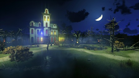 Scary haunted mansion with luminous windows surrounded by fantastic creepy trees under dark night sky with big half moon. Decorative Halloween 3D illustration