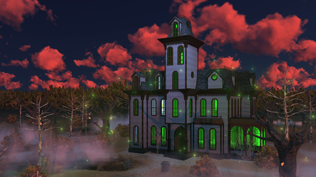 Eerie sunset clouds above spooky mansion surrounded by fantastic creepy trees at misty dusk. Decorative Halloween 3D illustration