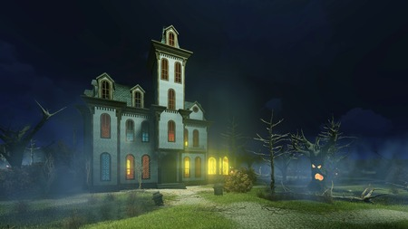 Scary haunted mansion with luminous windows surrounded by fantastic creepy trees at dark misty night. Decorative Halloween 3D illustration. Stock Photo