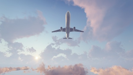 Passenger airliner flying overhead high in the sky above fluffy cumulus clouds at sunrise or sunset. 3D illustration. Stock Photo