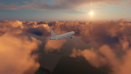 Passenger airplane flying above dramatic sunset cumulus clouds high in the sky against setting sun. 3D illustration. Stock Photo