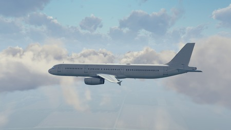 Passenger airliner flying high in the sky among fluffy cumulus clouds at daytime close-up side view. 3D illustration.