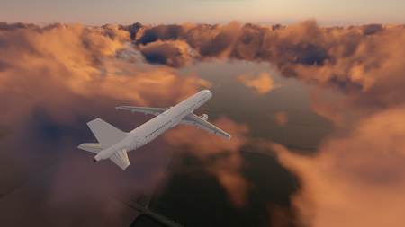 Passenger airliner flying above scenic cumulus clouds high in the sky at sunset or sunrise. 3D illustration.