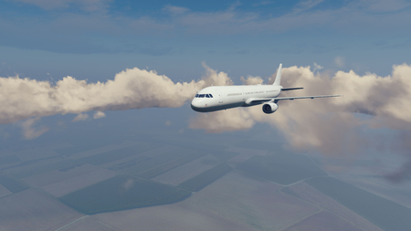 Passenger airliner flying high in the sky above countryside fields among cumulus clouds at daytime. 3D illustration.