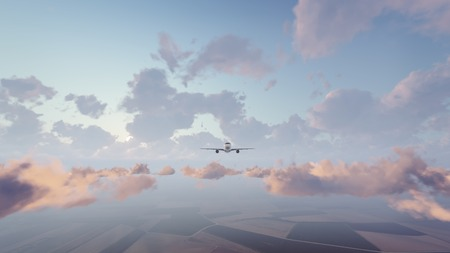 Frontal view of passenger airliner flying high in the sky above cumulus clouds at sunrise or sunset. 3D illustration.