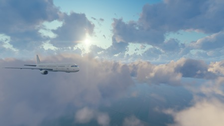 Passenger airliner flying among fluffy cumulus clouds high in the sky against shining sun at daytime. 3D illustration.