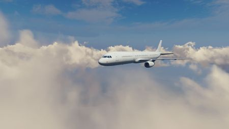 aeronautic: Passenger airplane flying high in the sky among fluffy cumulus clouds at daytime. 3D illustration. Stock Photo