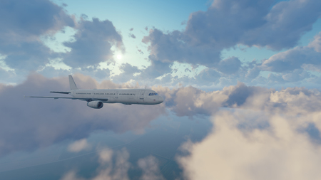 Passenger airplane flying among cumulus clouds high in the sky against shining sun at daytime. 3D illustration.