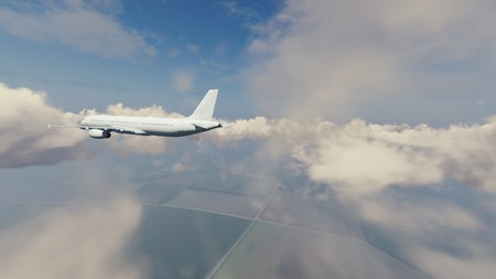 rearview: Rear view of passenger airliner flying high in the sky above countryside among cumulus clouds at daytime. 3D illustration.