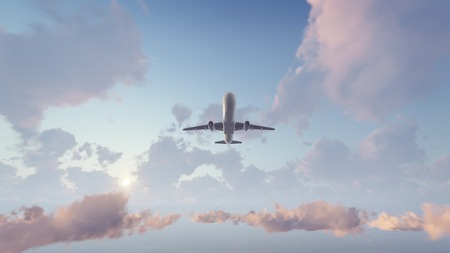 Passenger airplane flying overhead high in the sky above cumulus clouds at sunset or sunrise. 3D illustration.