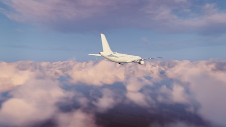 Rear view of passenger airplane flying high in the sky above fluffy cumulus clouds at sunset or sunrise. 3D illustration.