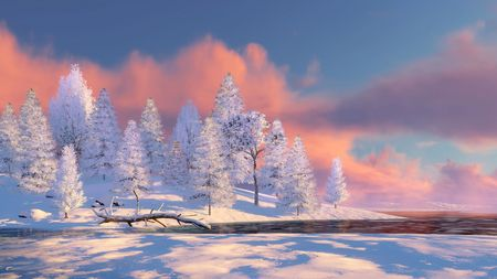 Peaceful winter scenery with snow covered fir tree forest on shore of frozen river at scenic sunset or sunrise. 3D illustration.