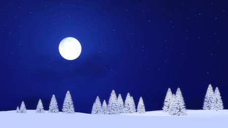 Winter landscape with snow covered fir silhouettes against clear starry night sky background with big full moon. 3D illustration.