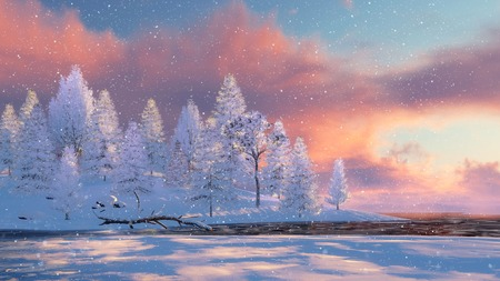 Winter landscape with snowy fir tree forest on shore of frozen river and slight snowfall at scenic sunset or sunrise. 3D illustration.