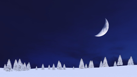 Winter landscape with snow covered fir silhouettes against dark night sky background with big half moon. 3D illustration.