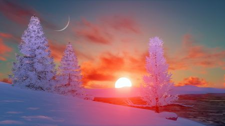sunrise sky: Winter landscape with snow covered firs and frozen lake under sunset or sunrise sky with fantastic big sun and half moon. 3D illustration. Stock Photo