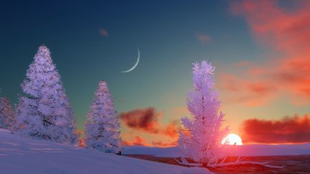 Winter landscape with snow covered firs and frozen river under sunset or sunrise sky with big setting sun and crescent. 3D illustration. Stock Photo